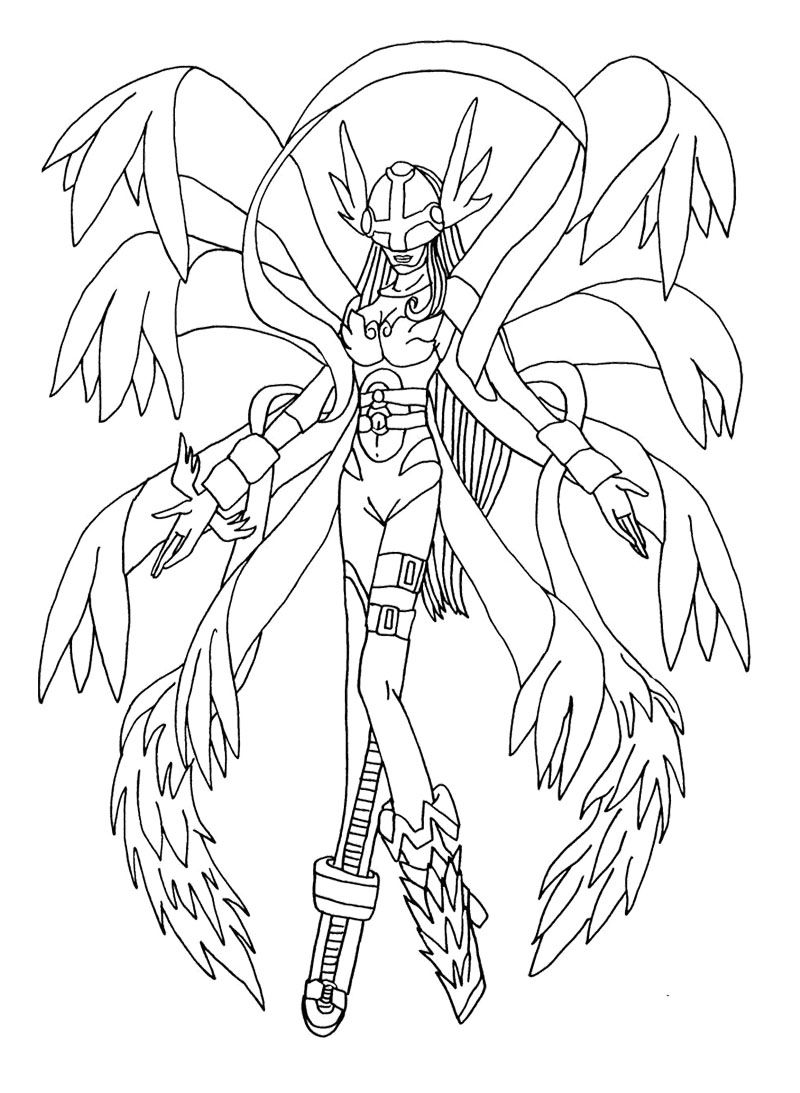 angewoman change of gatamon coloring page