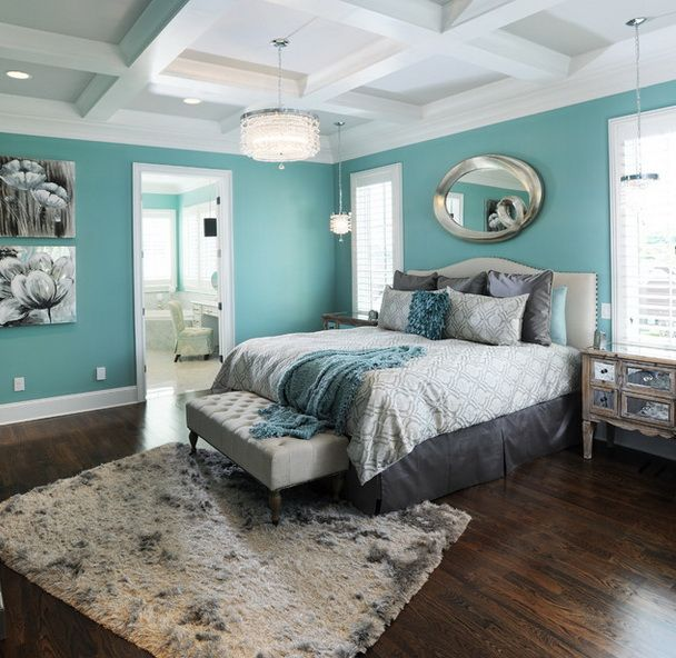 Elegant Turquoise Modern Master Bedroom Design With En Suite - Light turquoise paint for bedroom