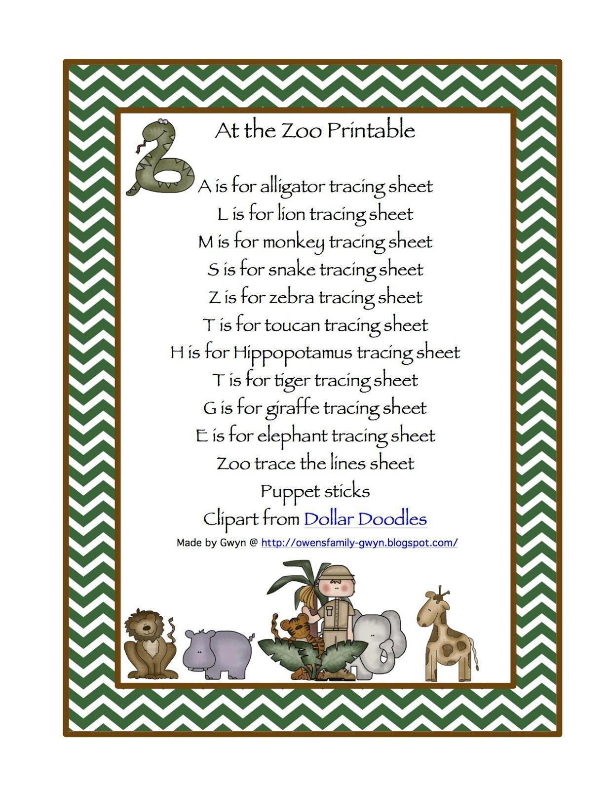 Zoo Printable