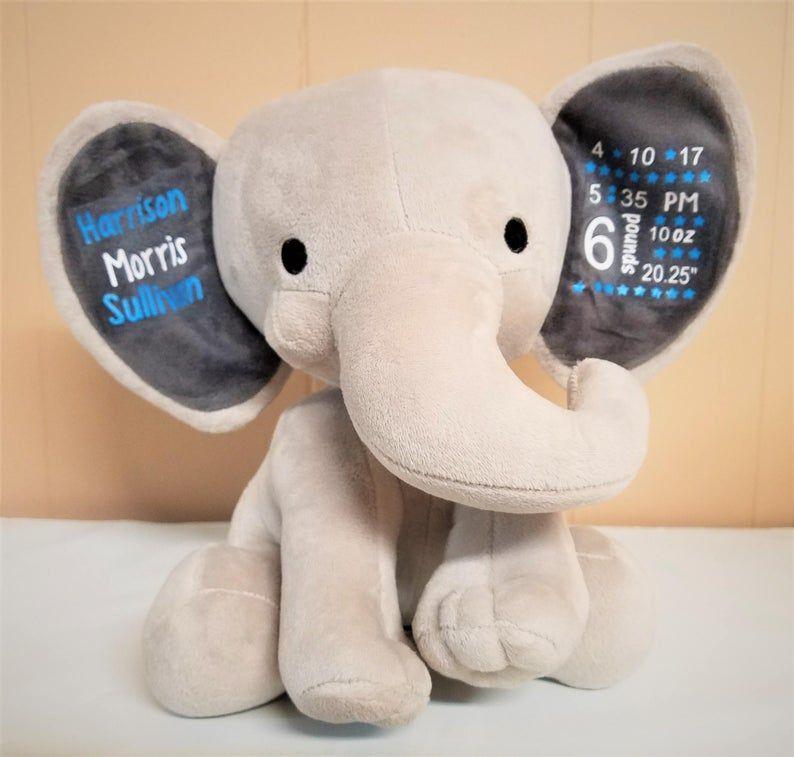 Personalized Birth Elephant Boy New Mom Gift First