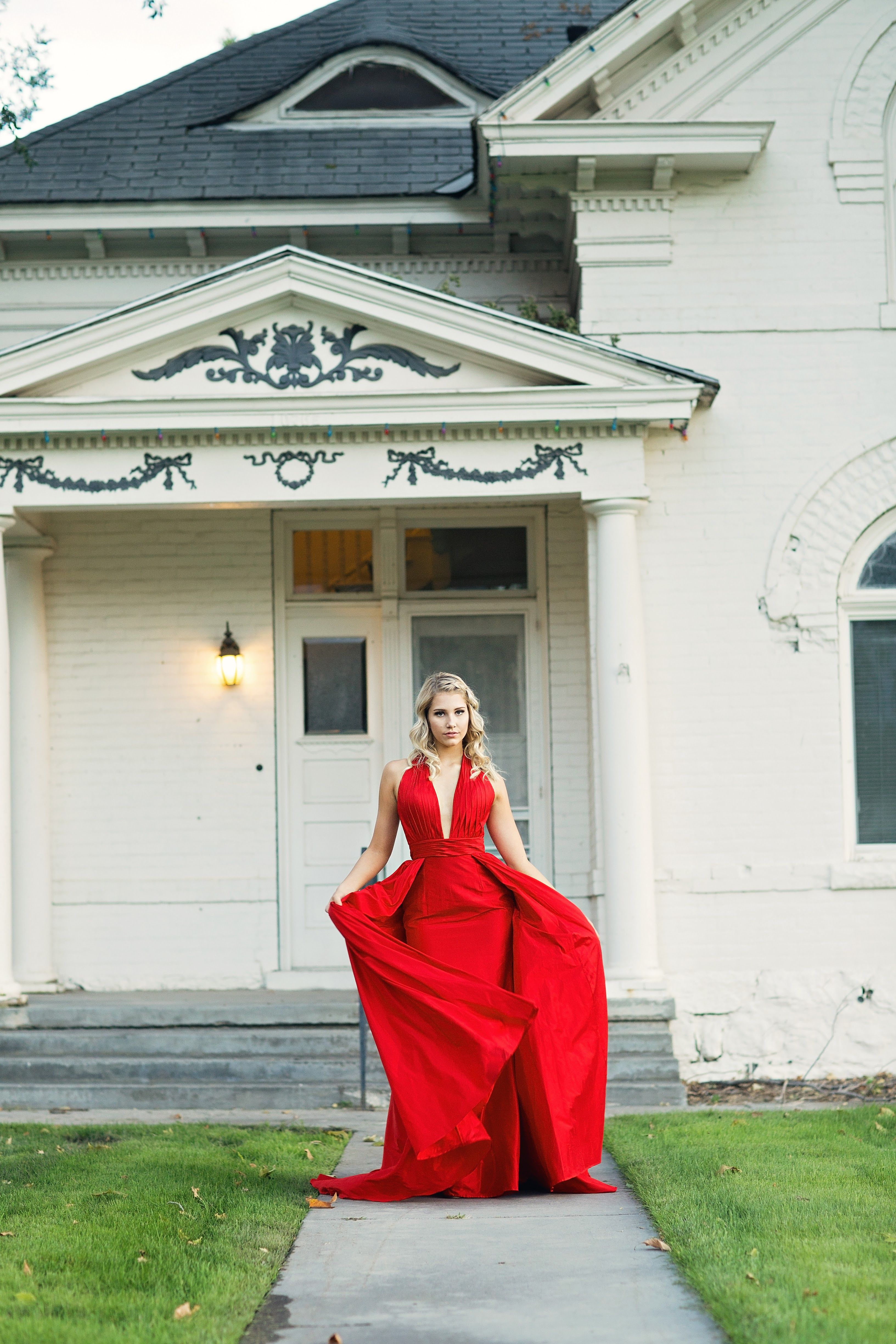 Ypsilon dresses cherry red deep vneck with cape long fitted dress
