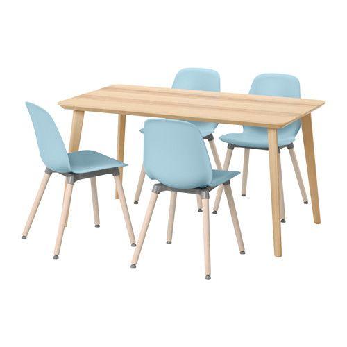 LISABO / LEIFARNE Tisch und 4 Stühle, Eschenfurnier, hellblau - ikea küche tisch