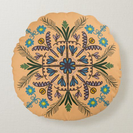 Bohemian Mandala Colorful Botanical Orange Round Pillow