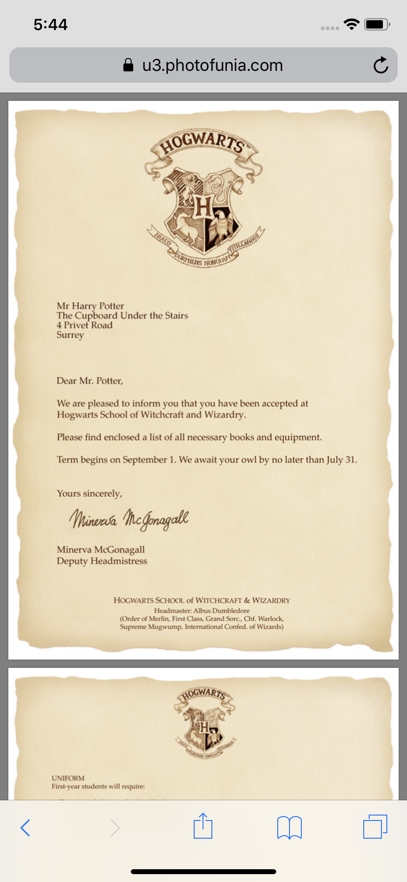 Customized hogwarts acceptance letter for FREE PRINTABLE