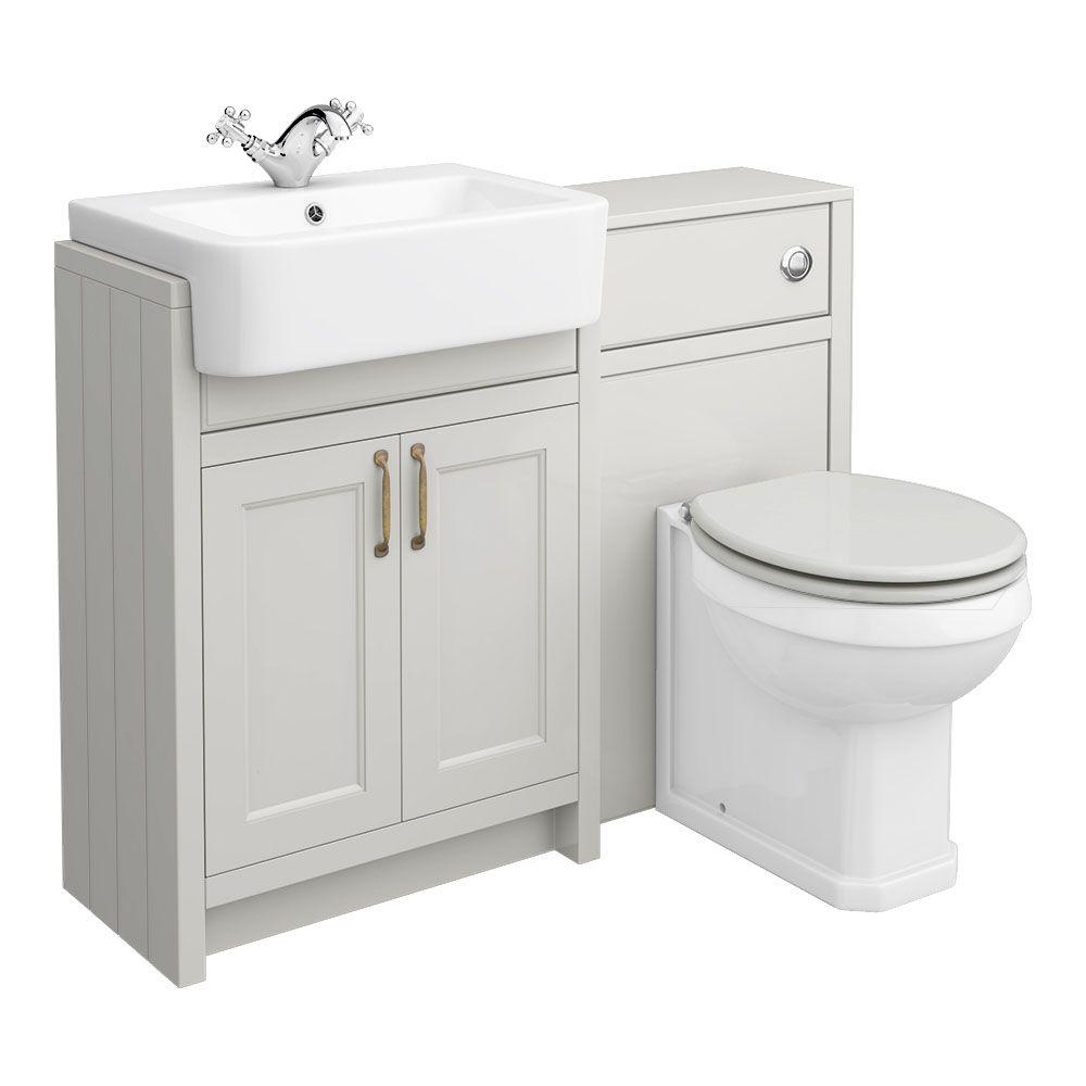 Chatsworth Traditional Grey Semi Recessed Vanity Unit Toilet