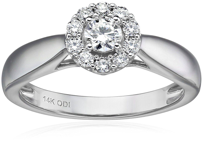 IGI Certified 14k White Gold Round Diamond Halo Solitaire