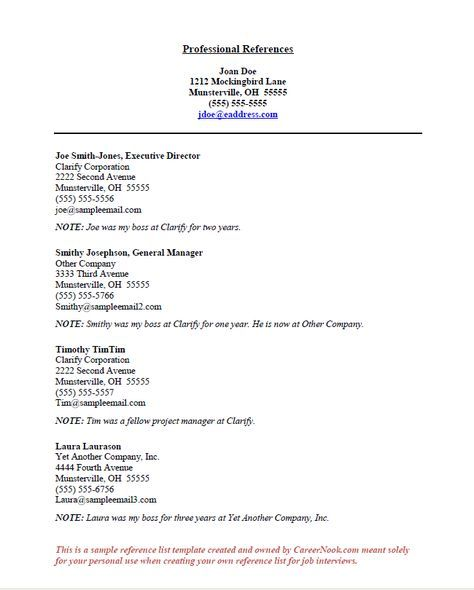 resume references titles