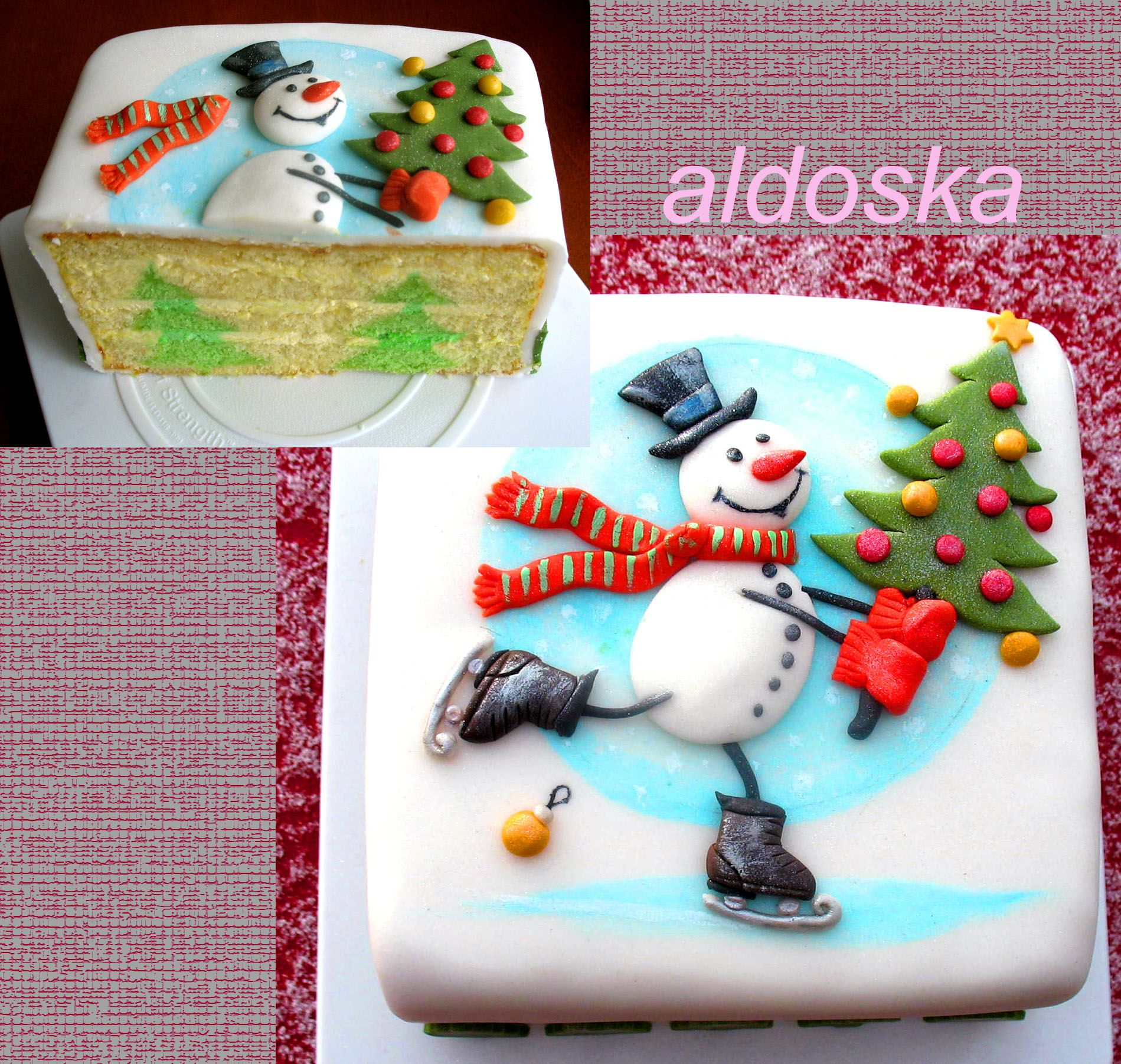 Snowman cake with tree inside - Tutorial is here:  http://cakesdecor.com/aldoska/blog/389