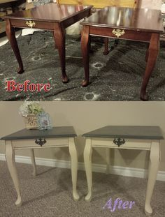Queen Anne Side Tables Before and After Annie Sloan Chalk Paint