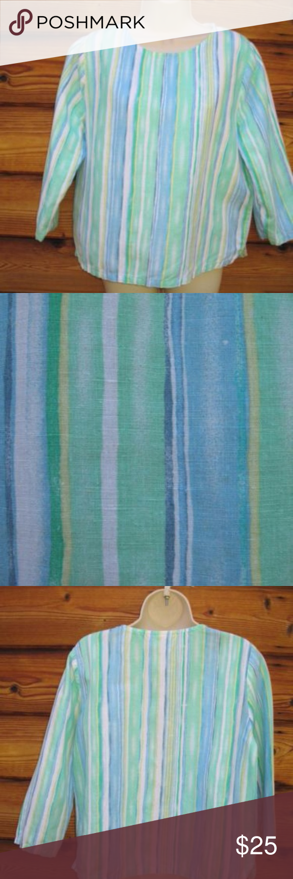 """FIRM Hot Cotton by Marc Ware Linen Cotton Top Hot Cotton by Marc Ware Linen Cotton Blend Striped 3/4 Sleeve Top, Size M  *Very good condition.  Details: Hot Cotton Size: M Color: Green Blue/Multi 55% Linen/45% Cotton Machine Wash Made in the USA  Measurements: Length: 23"""" Bust: 43"""" Waist: 42"""" Hot Cotton Tops Blouses"""