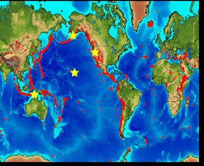 World Map of Volcanoes  Education  Insanity  Pinterest  Volcano