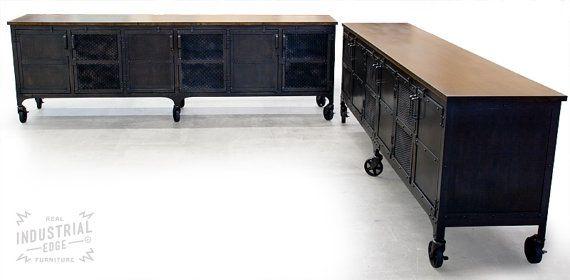 Custom 9' Industrial Rolling Media Cabinet, Wood & Steel Media ...
