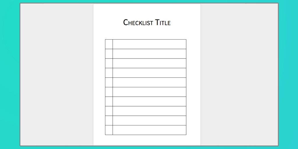 word checklist template download
