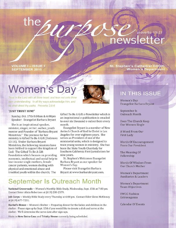 newsletter idea Womens Ministry Pinterest – Church Newsletter