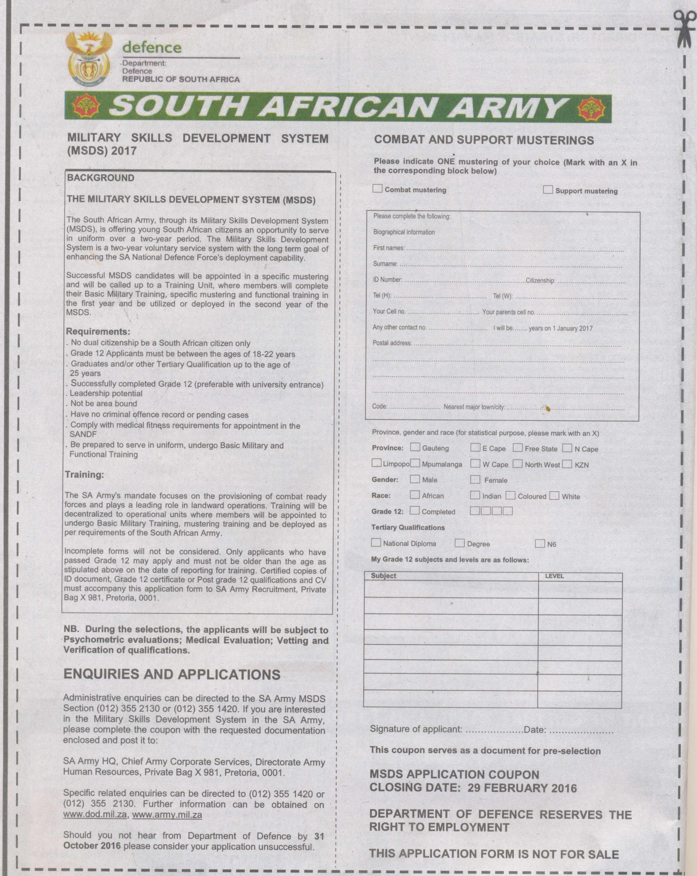 The South African Army, through its Military Skills Development ...