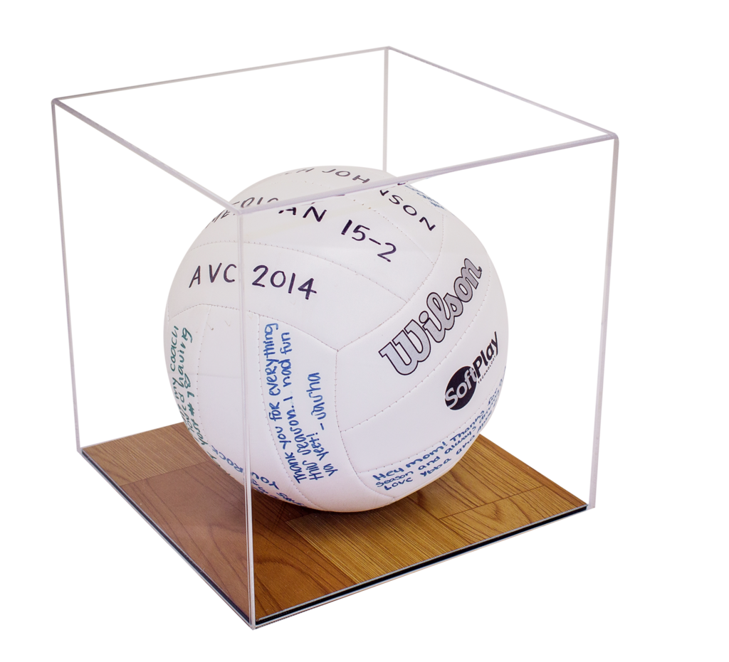Acrylic Volleyball Display Case W Wood Floor A008 B02 Acrylic Display Case Display Case Acrylic Display