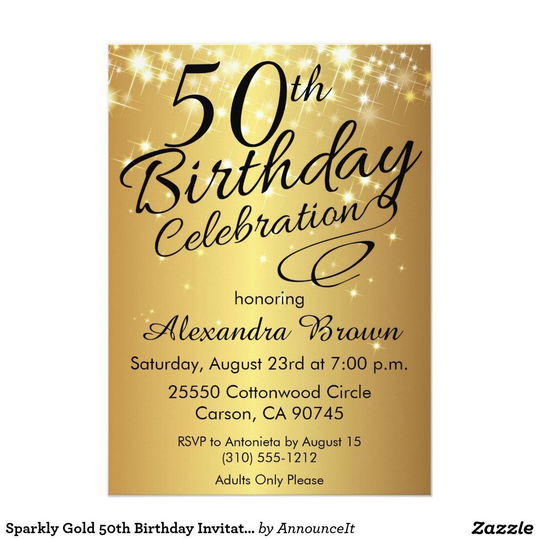 sparkly gold 50th birthday invitations