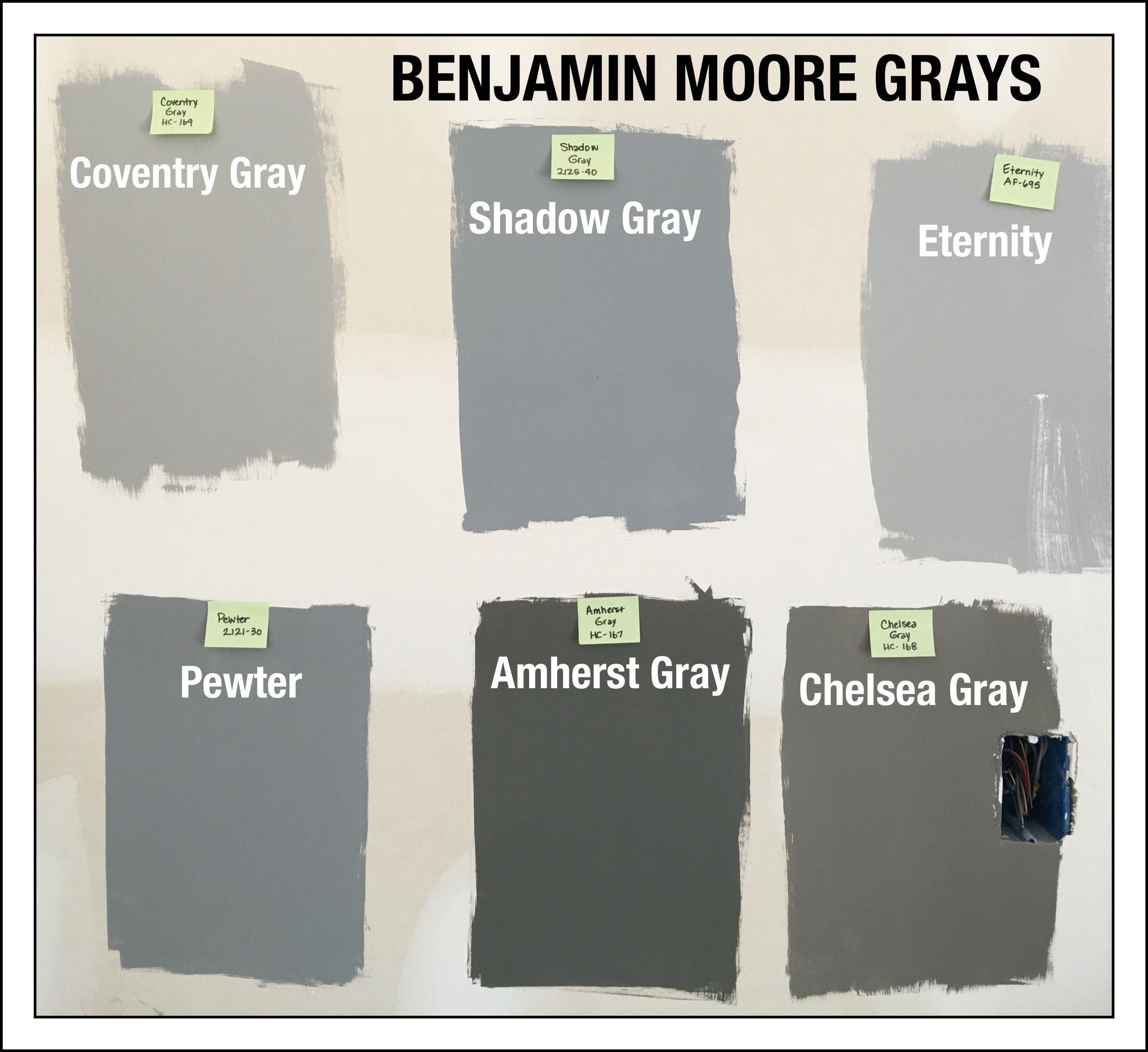 Benjamin Moore Gray Paint Swatches. Coventry Gray HC-169. Shadow ...