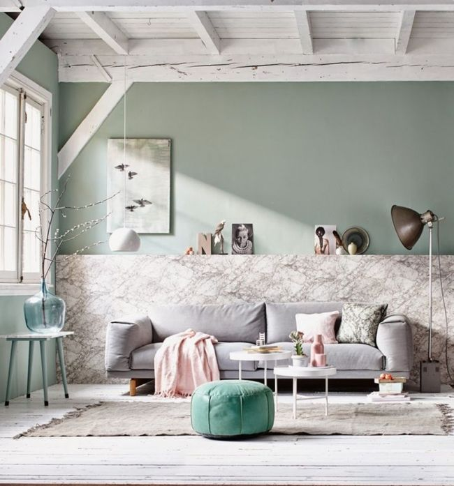 Salon vert de gris et marbre via vtwonen salon living - Salon gris et rose ...