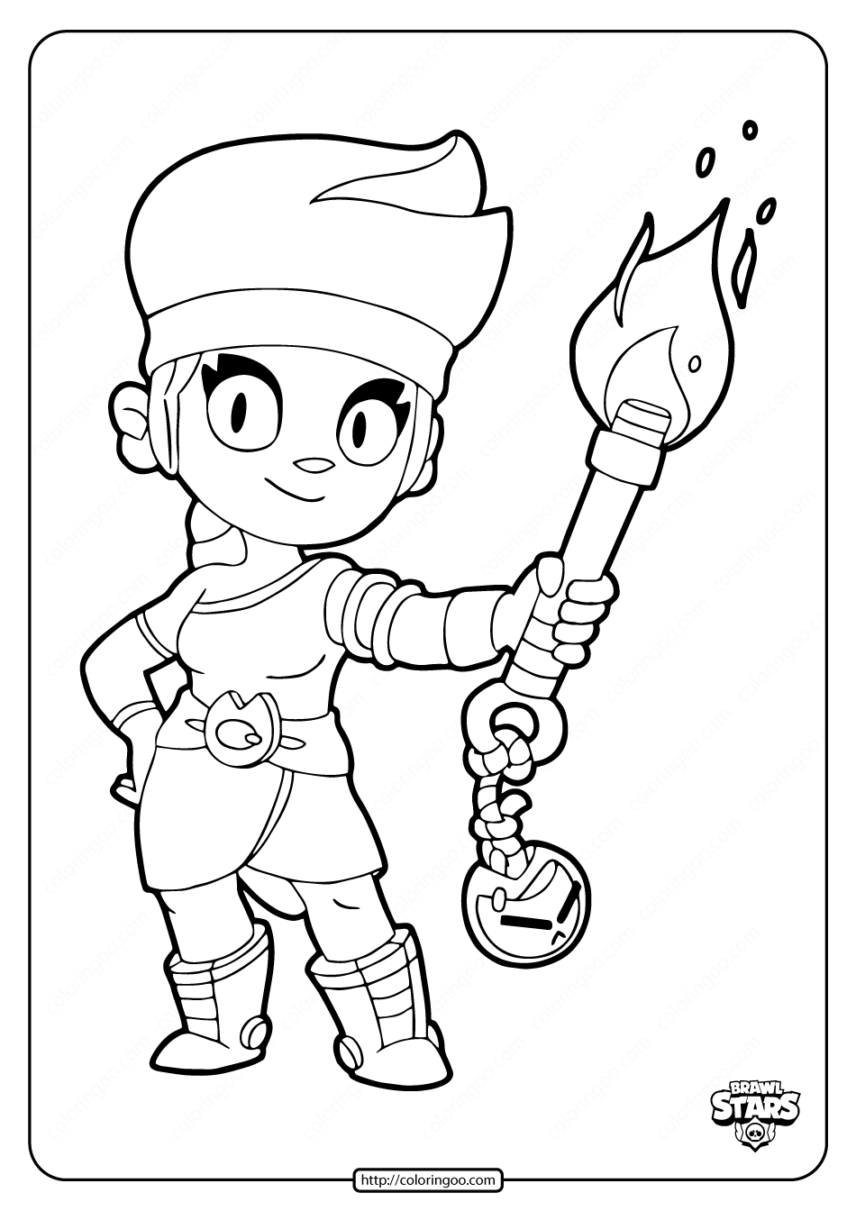 Brawl Stars Amber Coloring Pages Star Coloring Pages Coloring Pages Ladybug Coloring Page