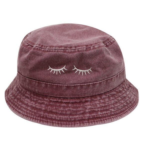 0db6d9c70 Capsule Design Eyelashes Washed Cotton Bucket Hats - Burgundy in ...