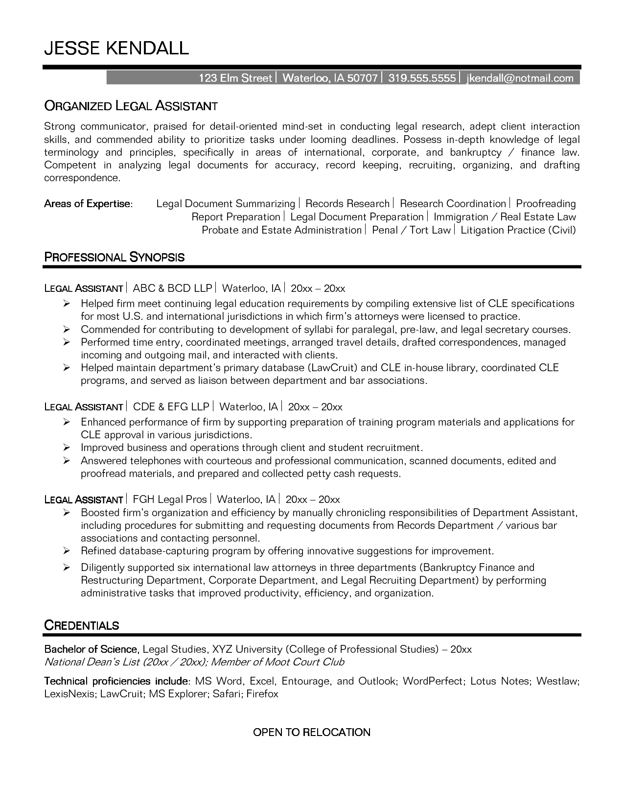 objective sample resume office assistant paralegal objectives