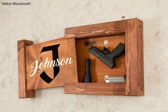 Locking Hidden Gun Storage Locking Solid Pine Concealed Gun Storage Monogram Family Name Sign Locking Gun Storage