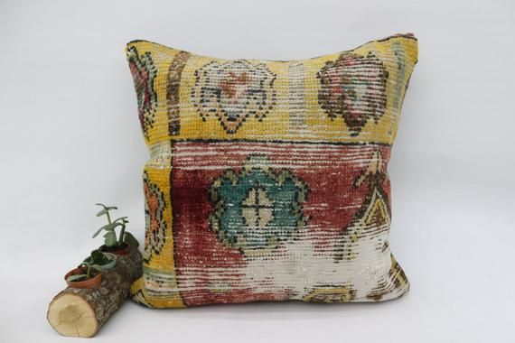 20x20 Natural Pillow, Turkish Kilim Pillow, Square Pillow, Pillow Cover,Throw Pillow, Embroidered Pi