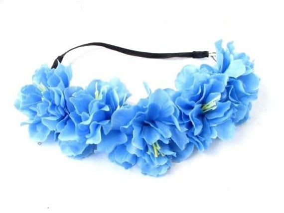Cornflower Light Blue Peony Flower Headband Festival Garland Hair Crown 5672 #bluepeonies
