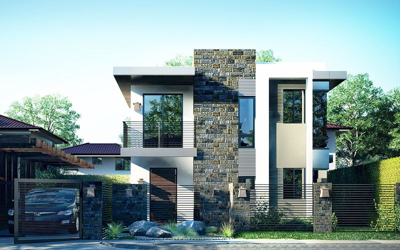 A picturesque modern house design is illustrated in pinoy for Modern house design materials