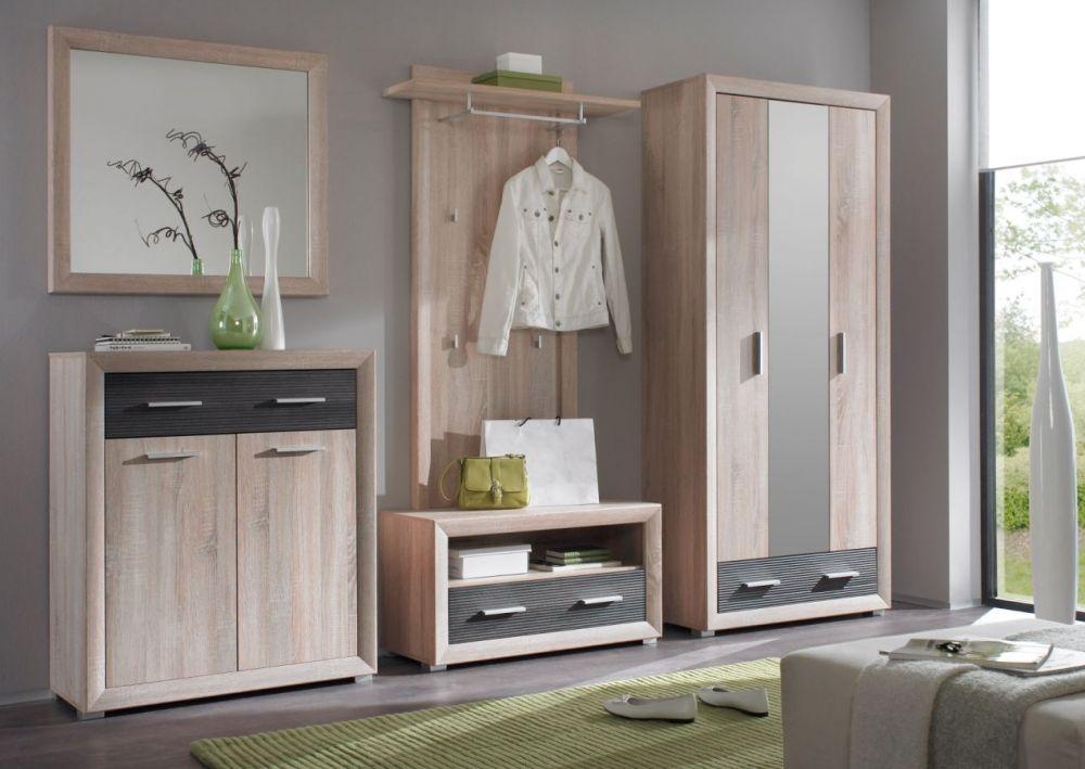Elegant BRANDY Garderobenschrank Kleiderschrank Eiche Sonoma Pinie dunkel g nstig M bel online kaufen Vieles