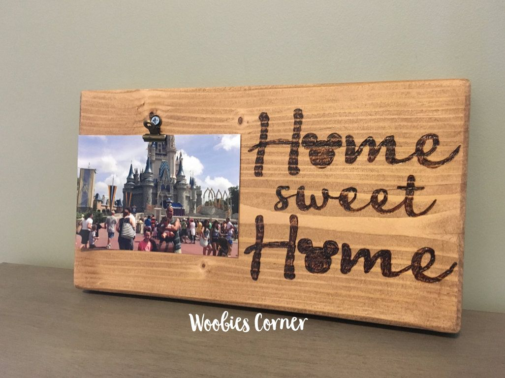 Disney home sign, Home sweet home, Disney picture frame, Disney home decor, Rustic home decor, Disney vacation, Family picture frame