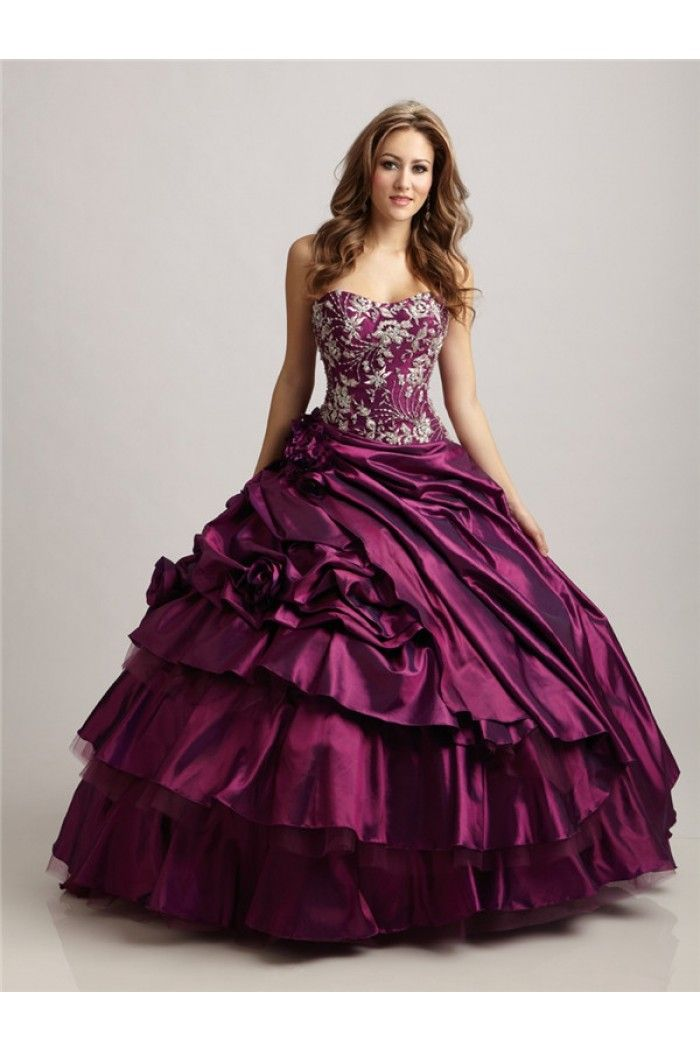 Ball Gown Strapless Sweetheart Magenta Taffeta Embroidery Beaded ...