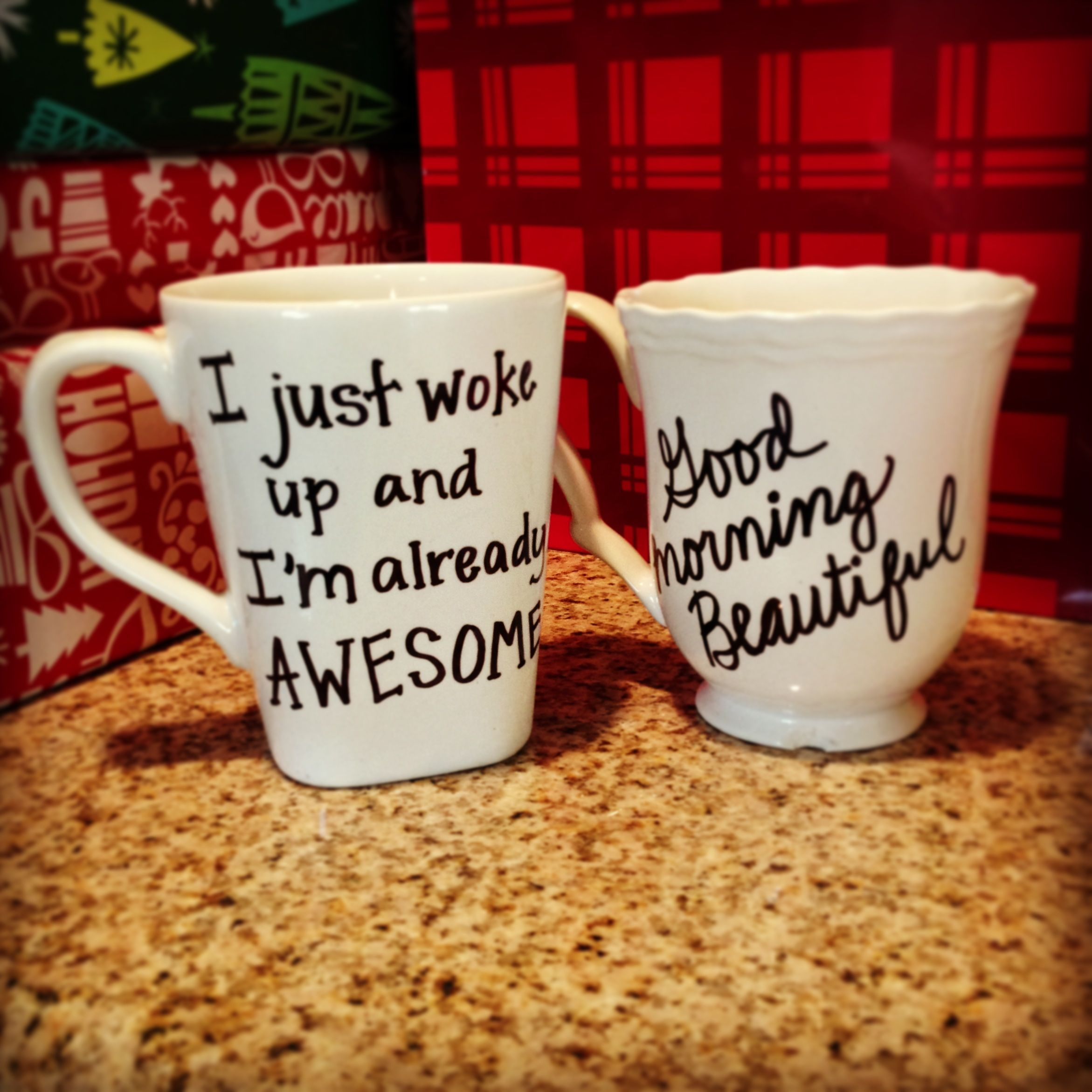 Diy Personalized Mugs For Christmas Gifts Write Your Favorite Message On A Mug With Sharpie Then Bake At 350 20 Minutes