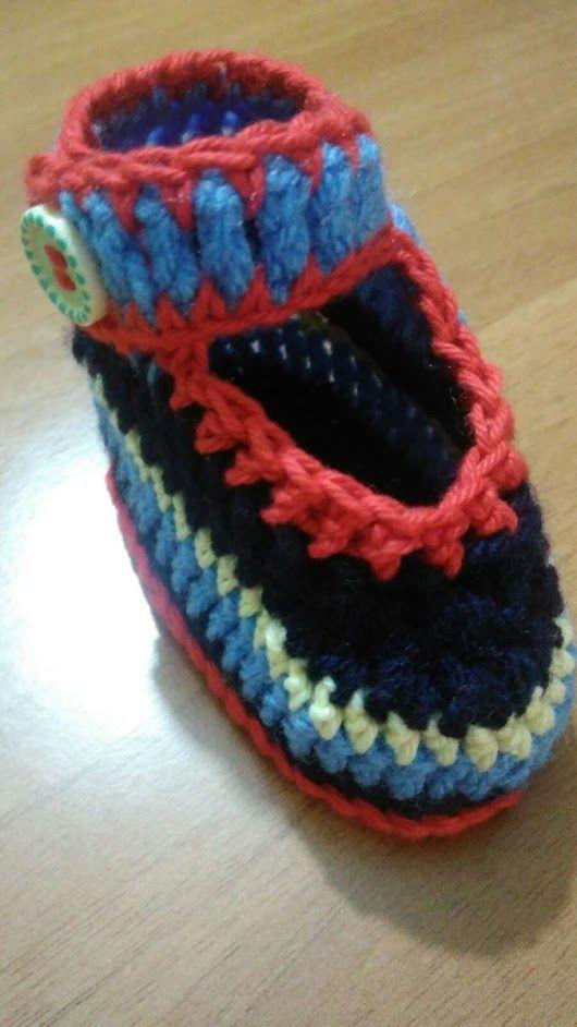 TUTORIAL-Scarpe per bambini all'uncinetto(con foto)