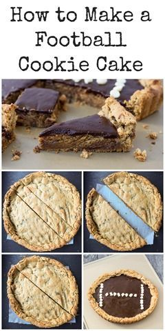 Peanut Butter Cup Football Cookie Cake #footballpartyfood