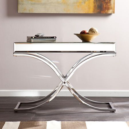 Illuminate Your Entryway Or Living Room With This Southern Enterprises Alice Mirrored Chrome Console Table