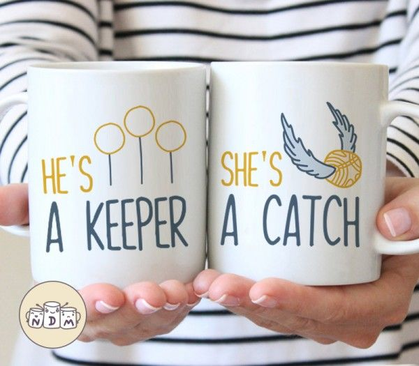 She's a Catch, He's a Keeper - Couple Gift Mug Set Inspired By Harry Potter #mugsset