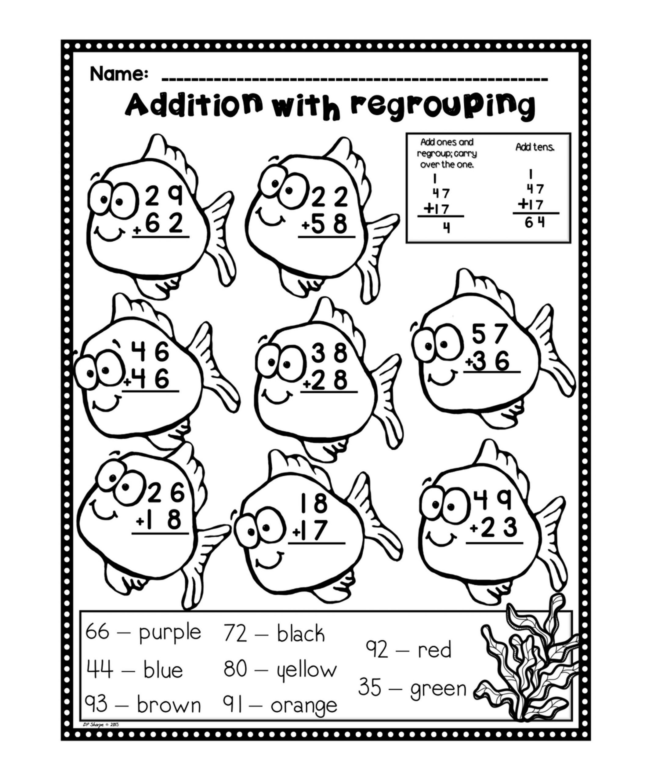 Worksheets For Fun Printable Addition With Regrouping Worksheets Kindergarten Addition Worksheets Color Worksheets Digit addition with regrouping song
