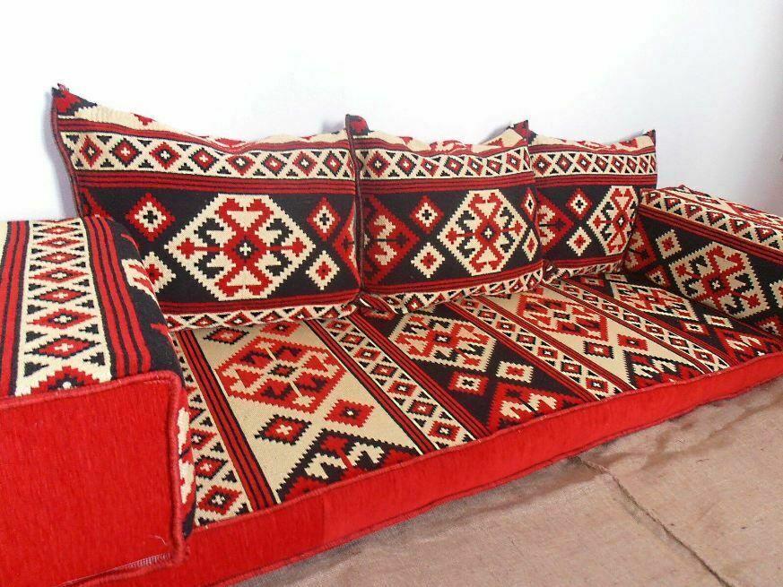 Arabic Turkish Set Oriental Sofa Majlis Kilim Floor Corner Cushion Pillow Red Handmade Kilim Corner Cushions Home Bar Furniture Flooring