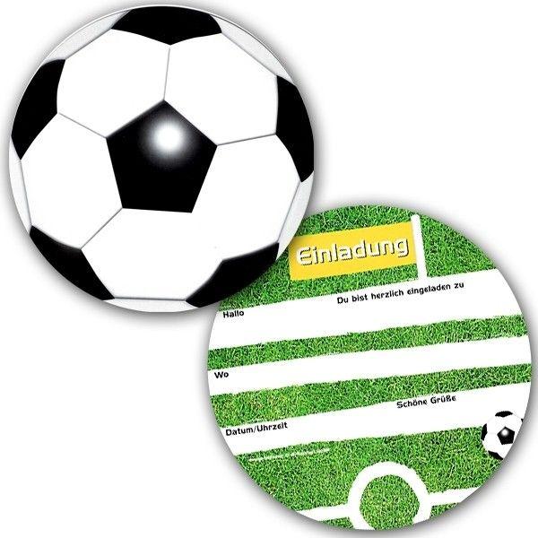 fussball einladungskarten, 6er pack, eine runde sache, 14,2cm, Einladungskarten