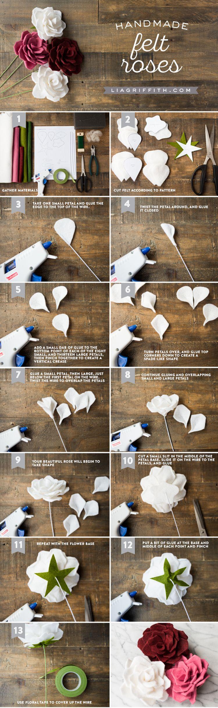 #feltcraft #feltflower #feltrose www.LiaGriffith.com: