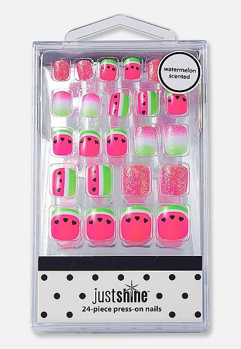 Just Shine Watermelon Scented Press On Nails   Justice   beauty ...
