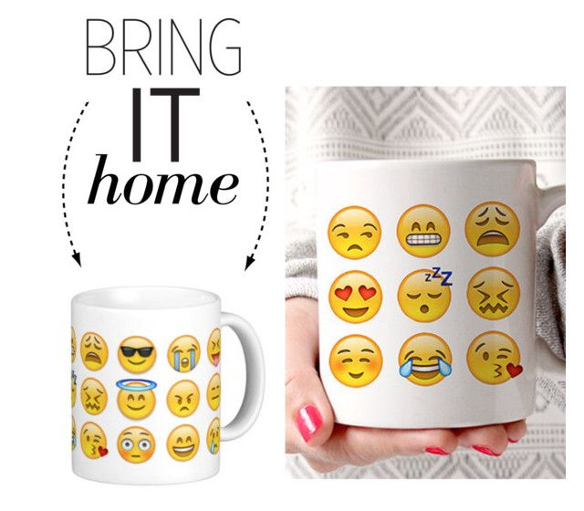 """Bring It Home: Emoji Faces Mug"" by polyvore-editorial ❤ liked on Polyvore featuring interior, interiors, interior design, home, home decor, interior decorating and bringithome"