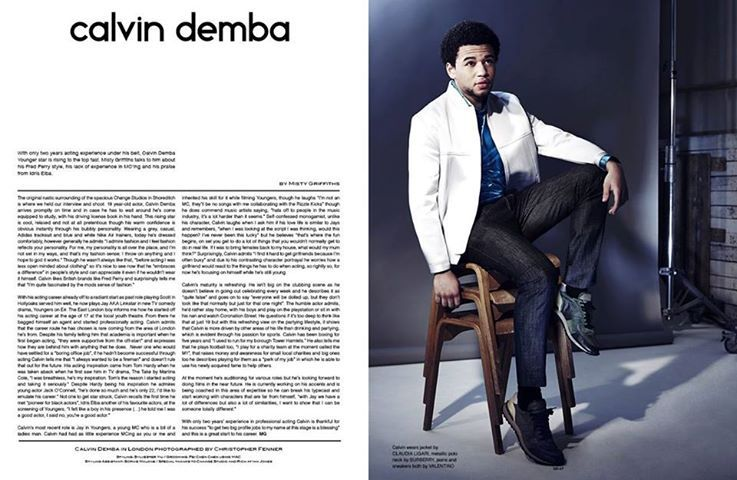 Claudia Ligari white bomber jacket worn by Calvin Demba in the latest issue of SID Magazine