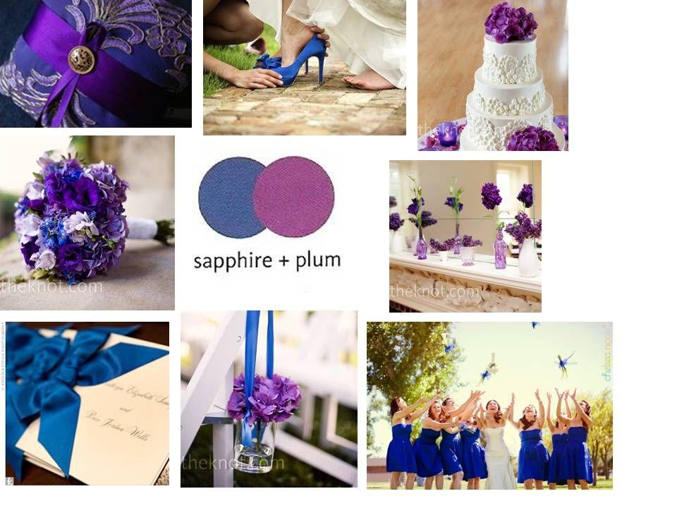 Sapphire And Plum Wedding Wedding Colors Purple Purple Wedding Bouquets Wedding Color Schemes