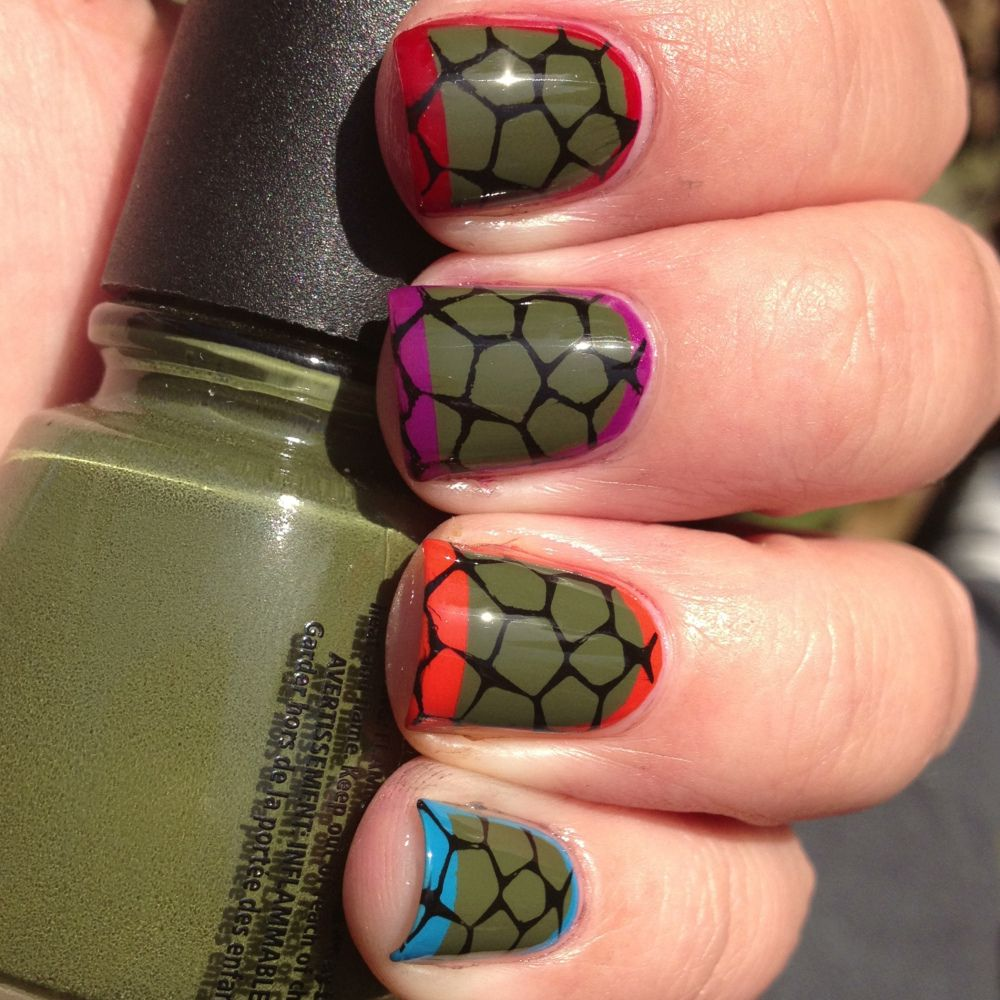Day 26: Nails Inspired By A Video Game- Ninja Turtle Nails | Ninja ...