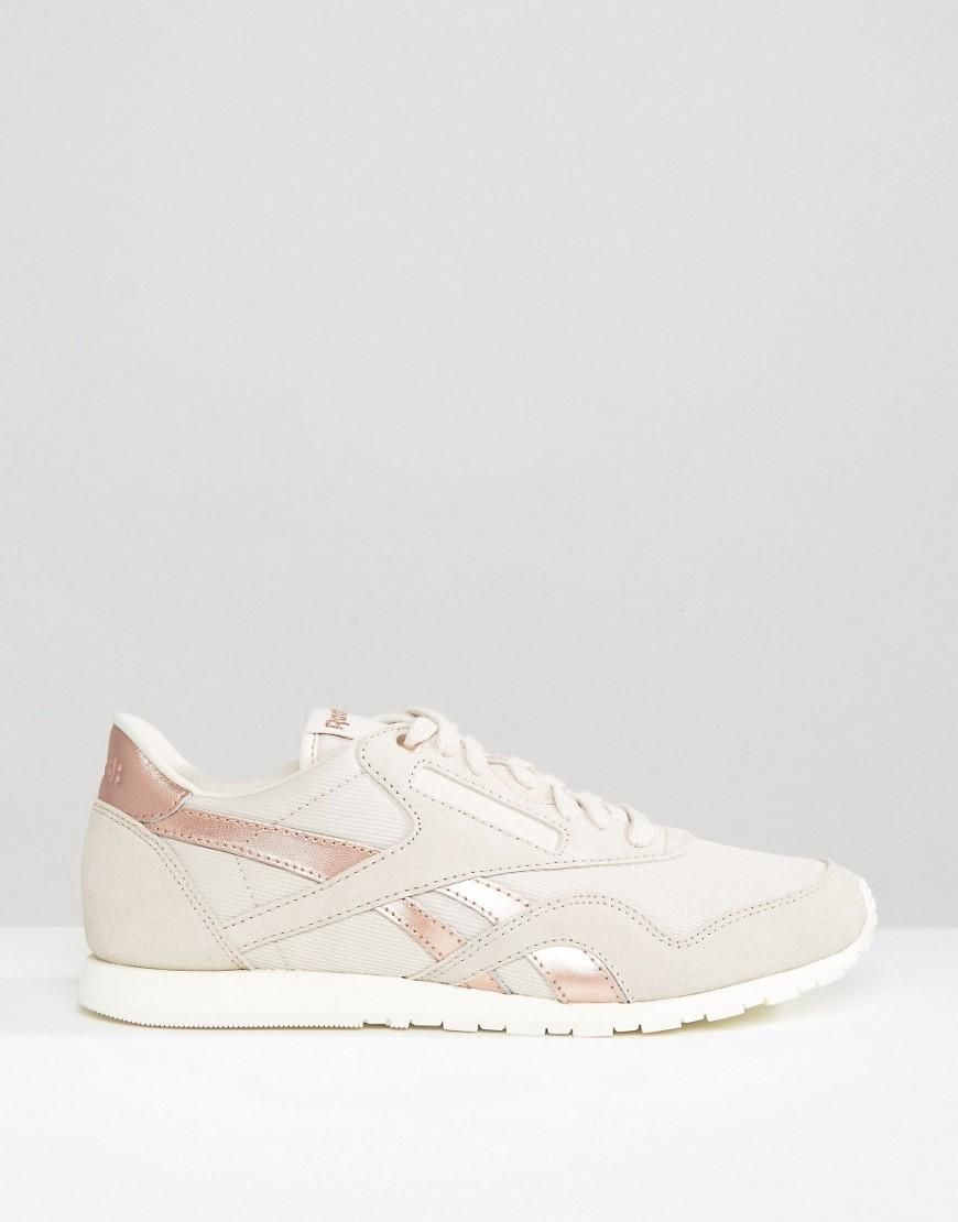 Reebok Classic Trainers In Nude With Rose Gold Trim at asos.com