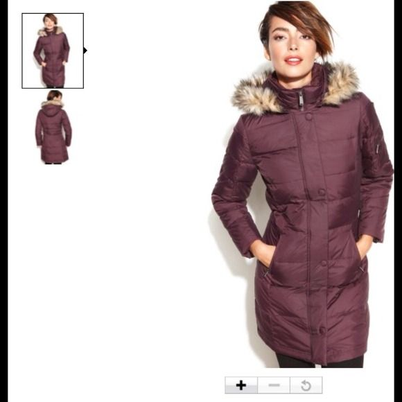 DKNY Outerwear - DKNY Hooded Faux-Fur-Trim Quilted Long Down Coat