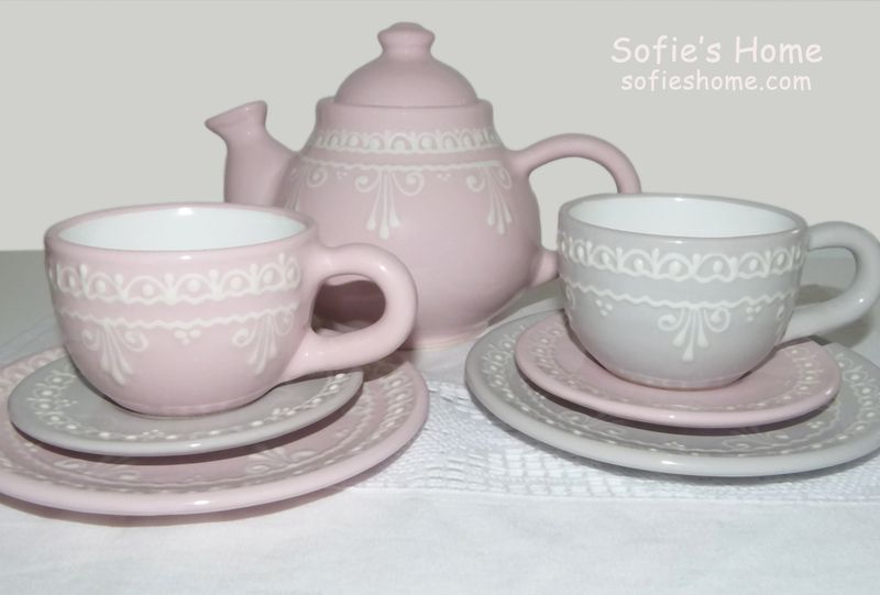 shabby kaffee teeservice rosa grau spitze von sofie 39 s home auf sofie 39 s home. Black Bedroom Furniture Sets. Home Design Ideas
